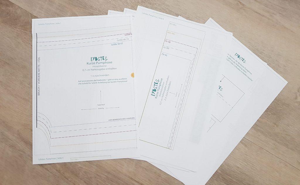 Papierdruck eines Schnittmuster mit den neuen kompatiblen Druckerpatronen